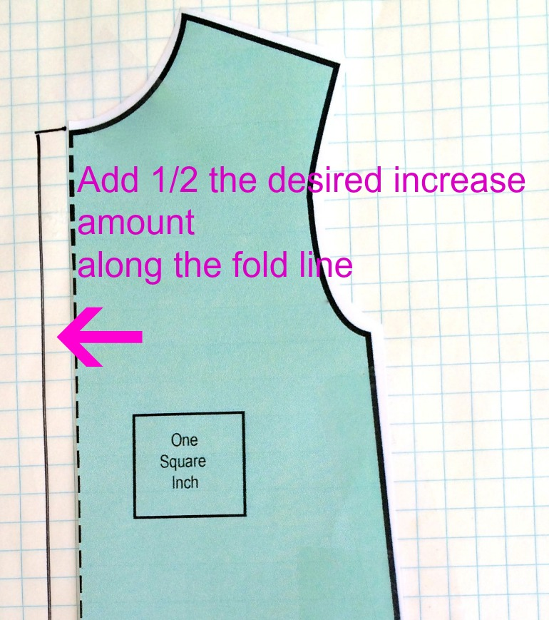 Altering a pattern piece for width only