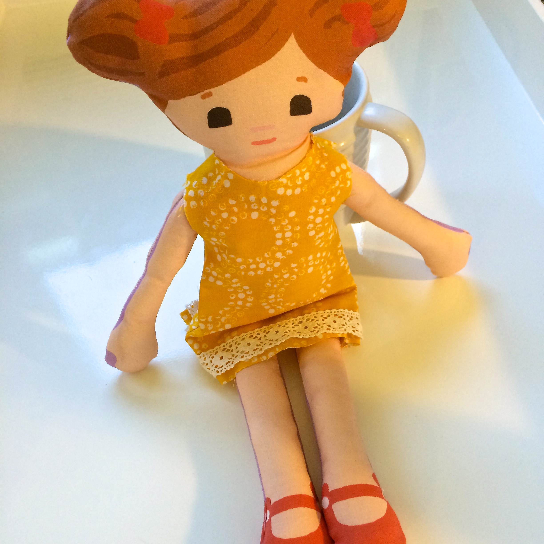Scrappy Phoebe models a handmade dress