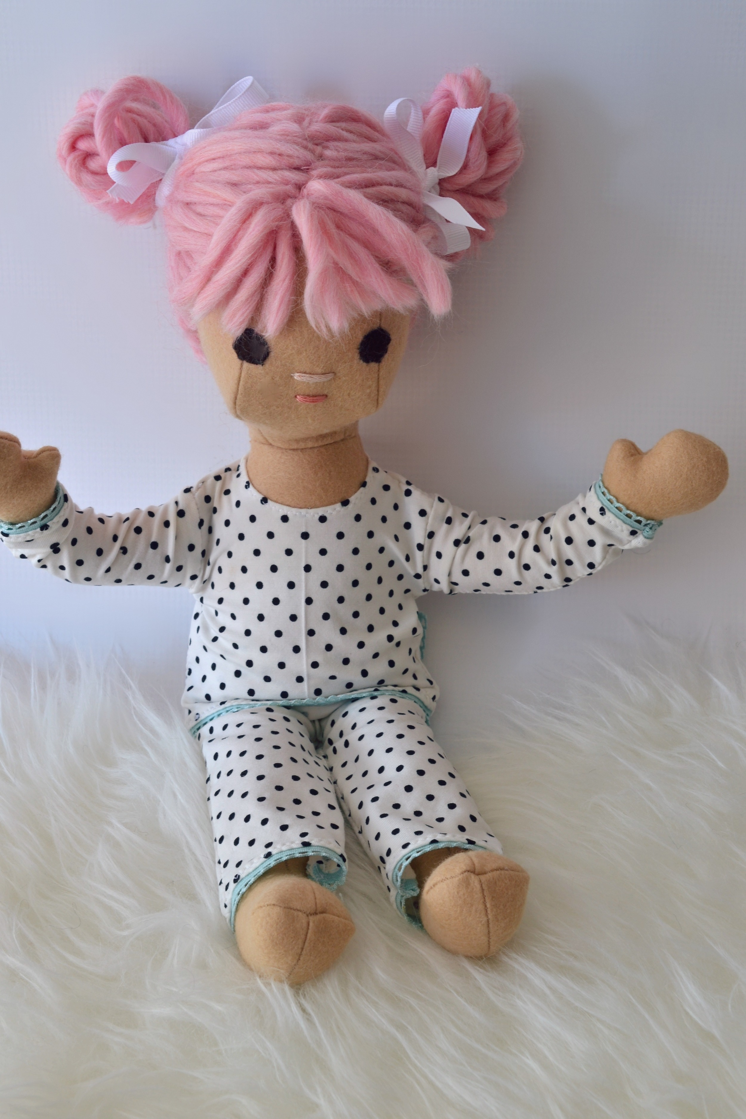 She loves her new PJs out of soft bamboo knit.