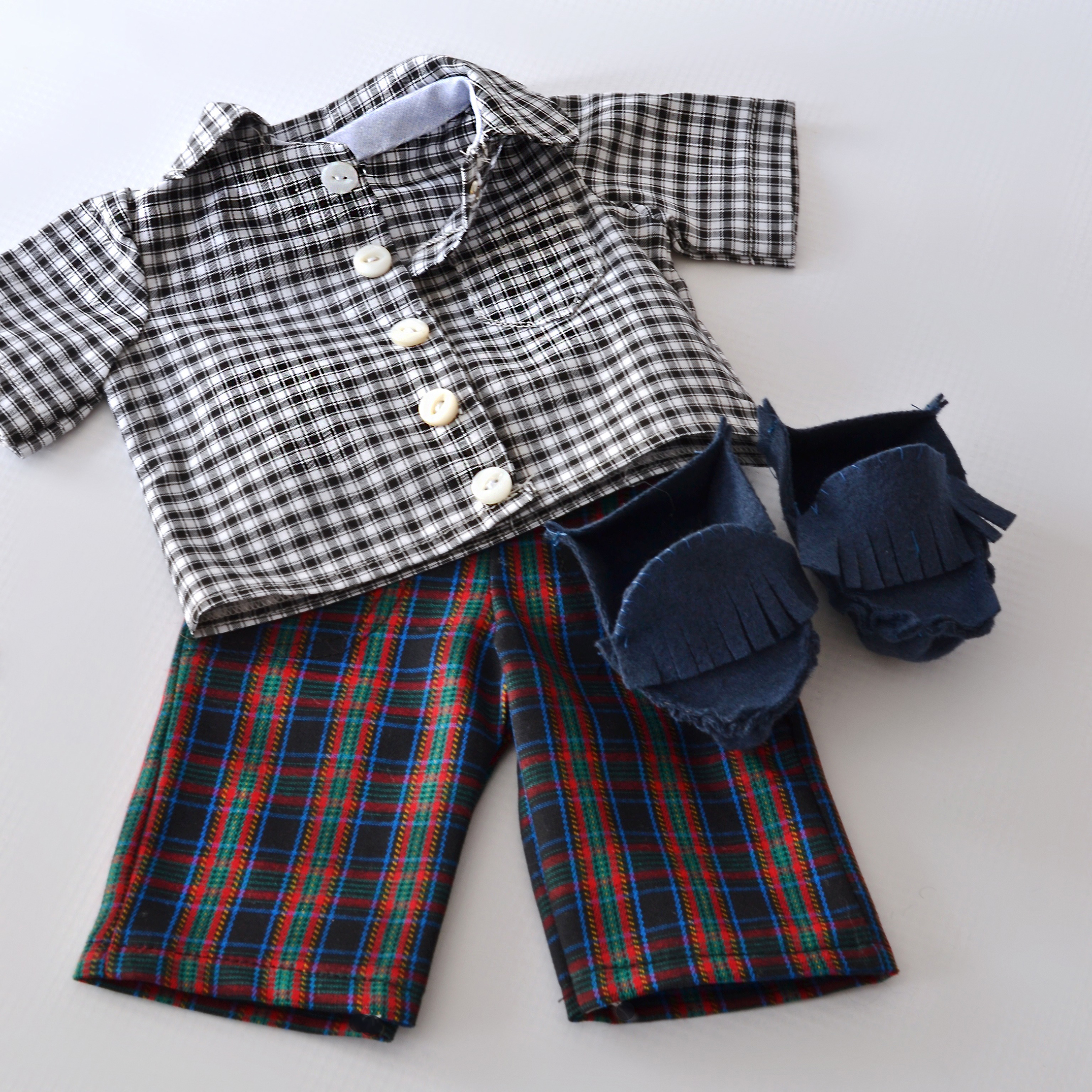 Plaid on plaid: Boy doll clothes