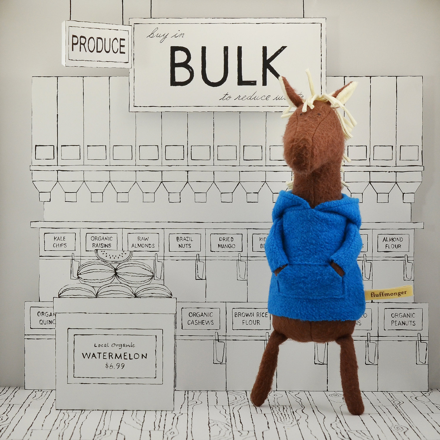 """"""" Baxter the horse is a total foodie who loves to go shopping for groceries at his local co-op."""""""