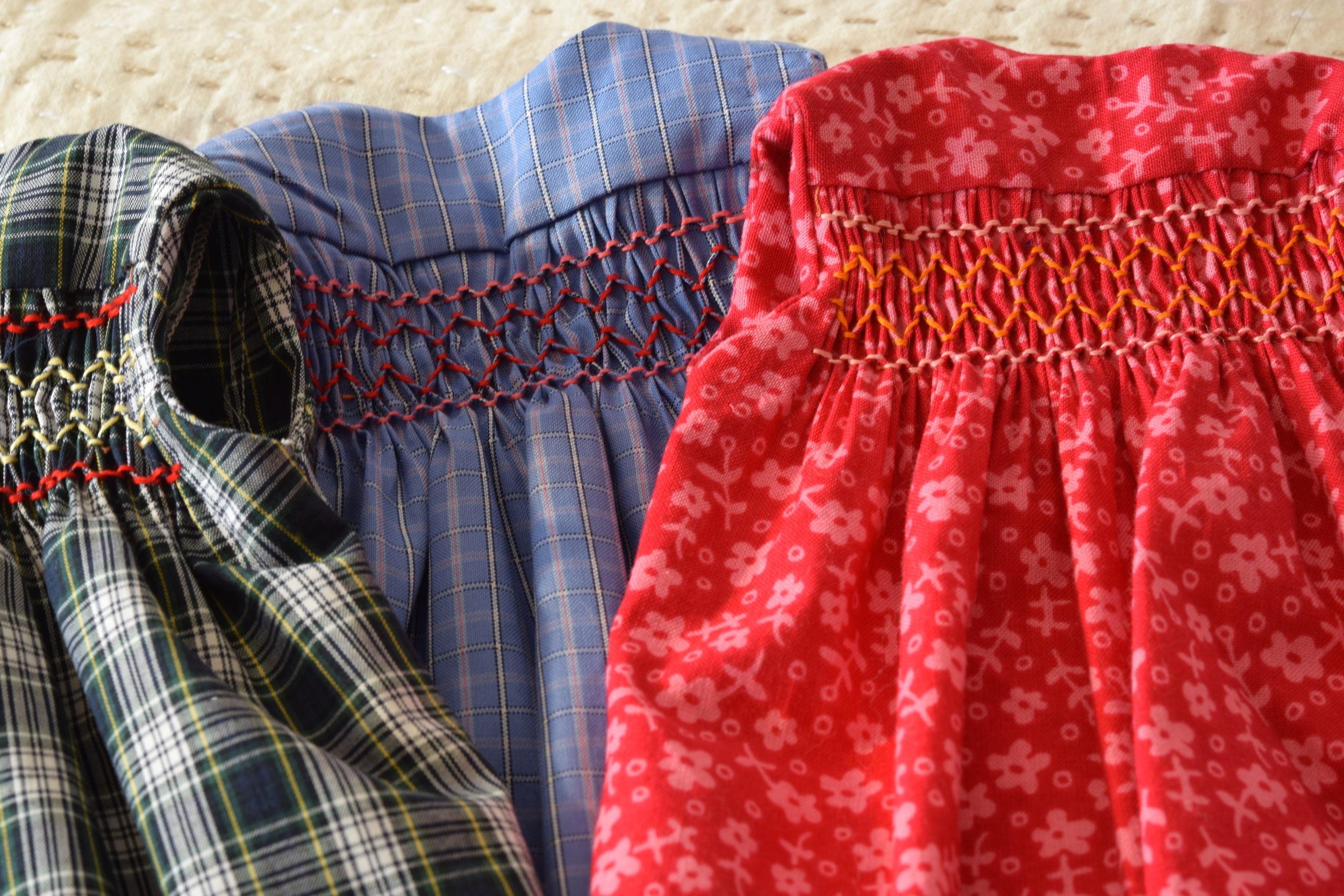 Smocked doll dress