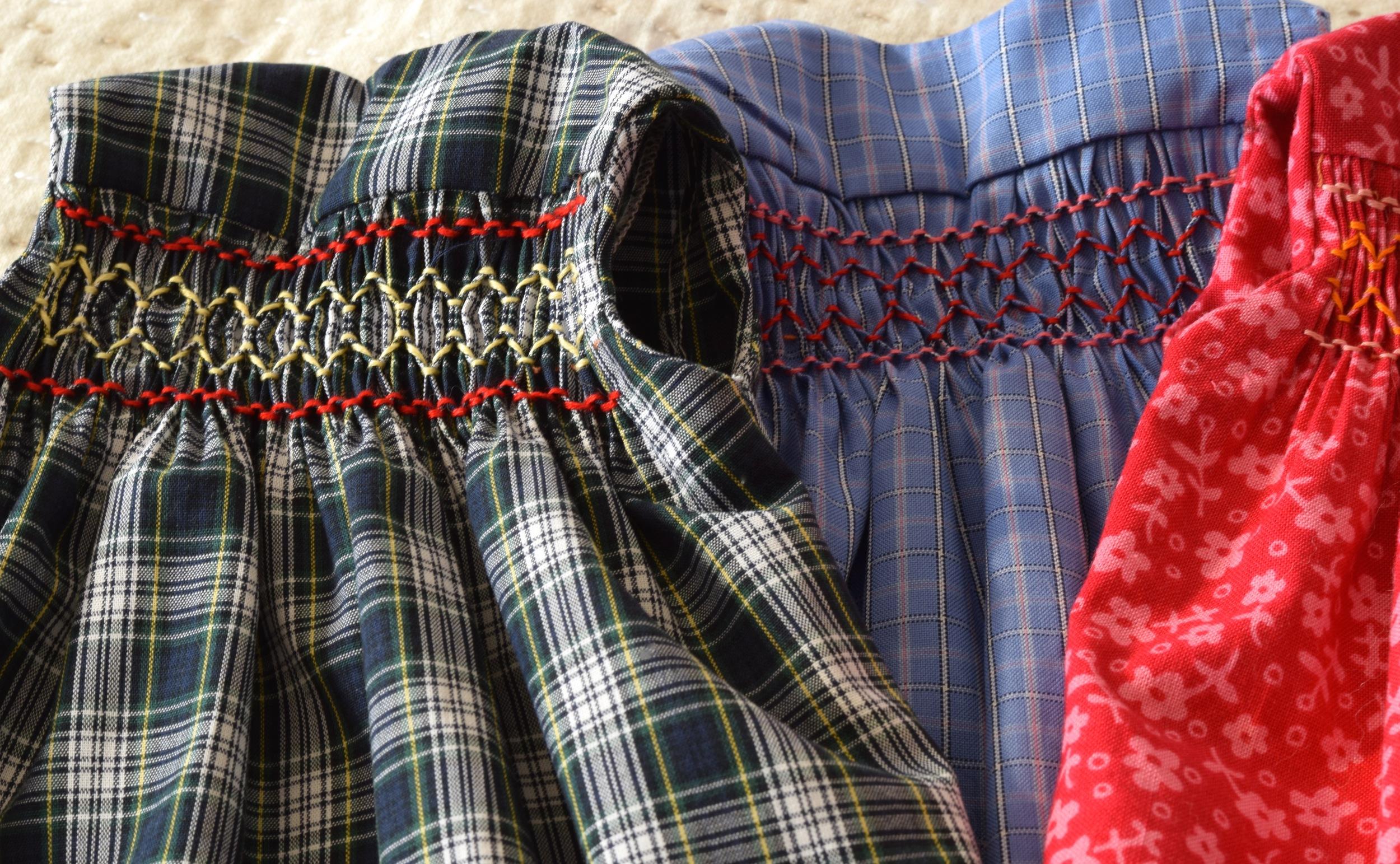 Smocked doll dresses