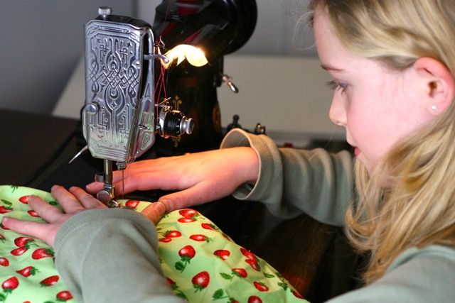 Annika's sewing machine is a Featherweight Singer and has been treasured for three generations of seamstresses in her family.