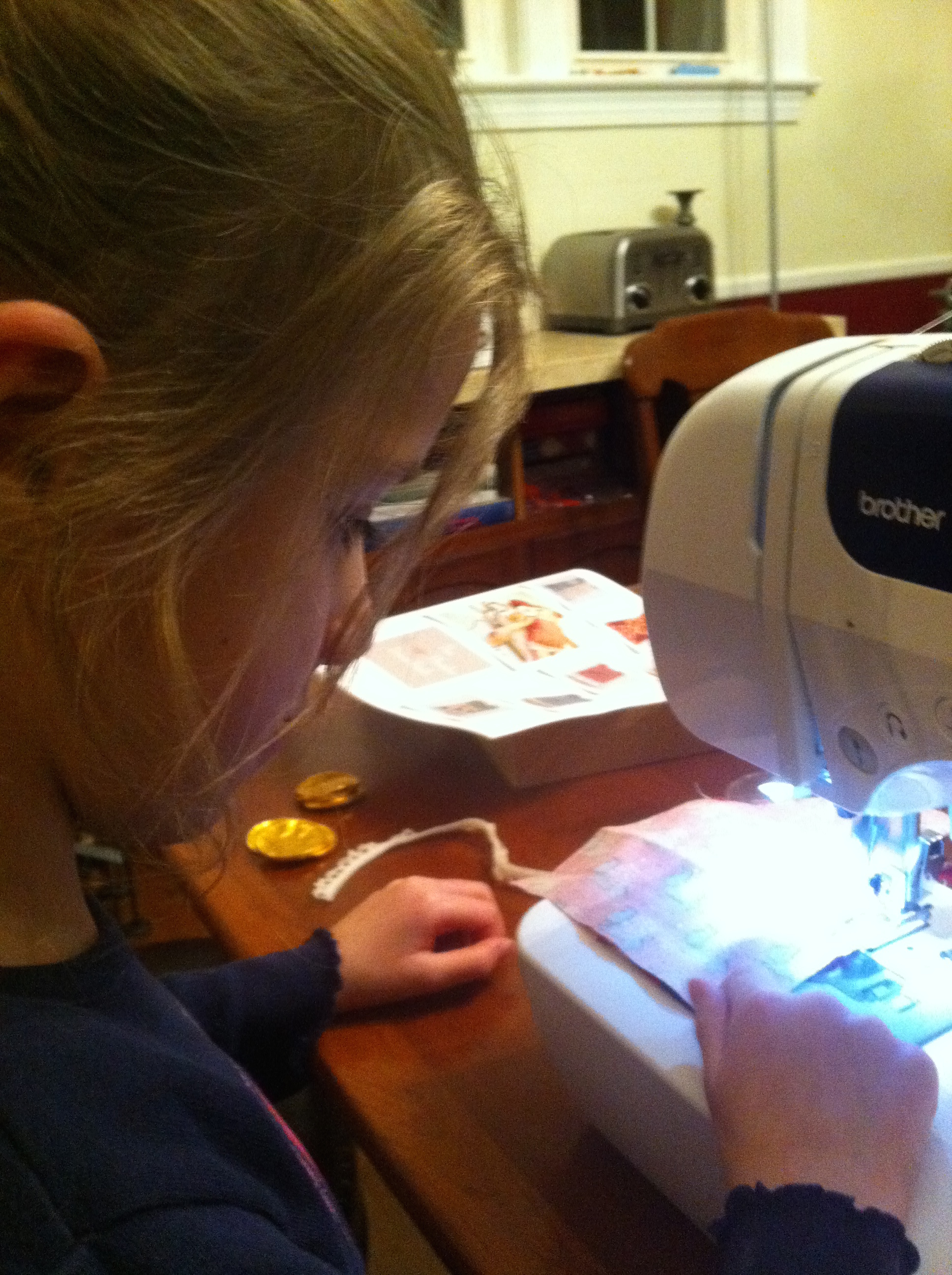 Trying the sewing machine