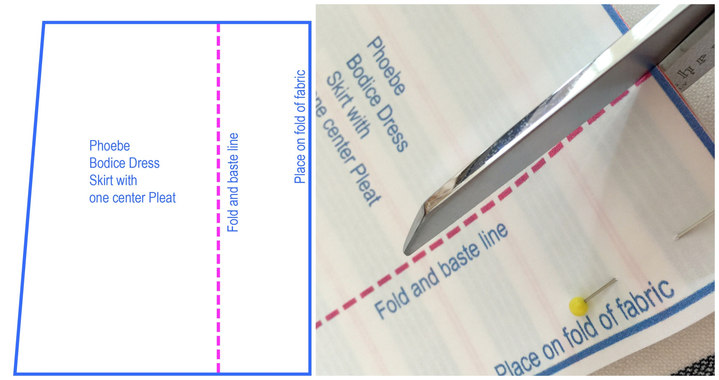Do not cut the pleat line, just make small snips at either end to mark it, or mark the ends with pencil.