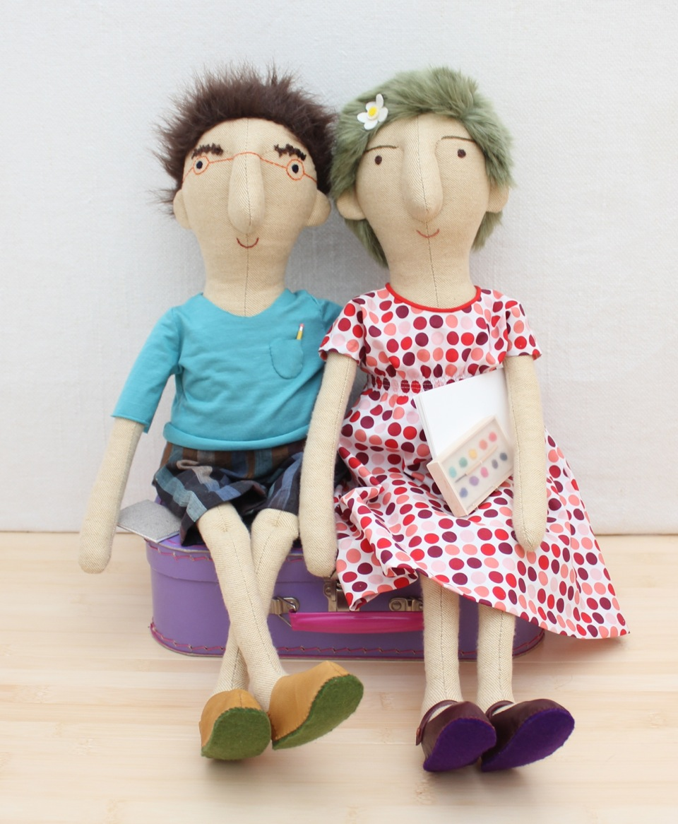 These two lovelies were the winners of the details category in the SewMamaSew Spectacular Softies contest.. I love everything about them! And not just because the boy doll resembles my husband.