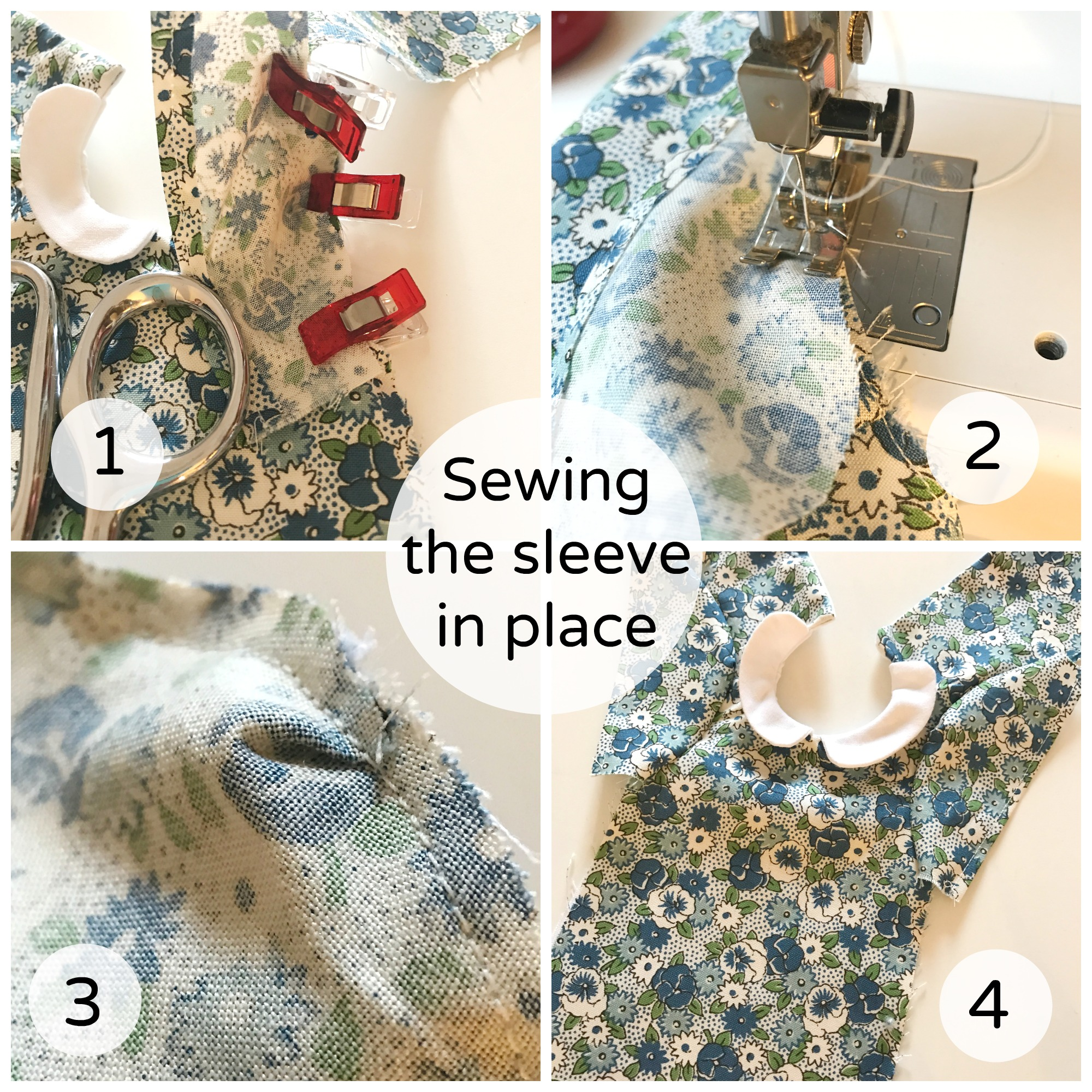 Sewing the sleeves in place