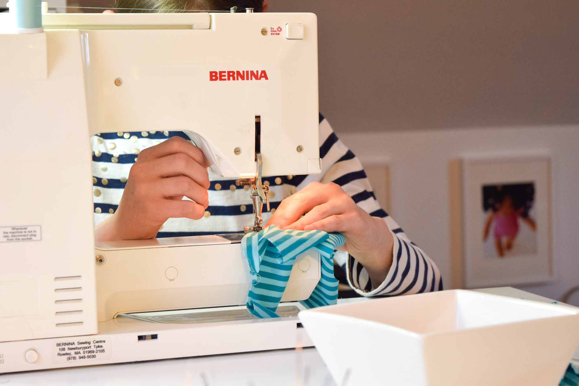 Maggie and my 28 year old Bernina getting acquainted.
