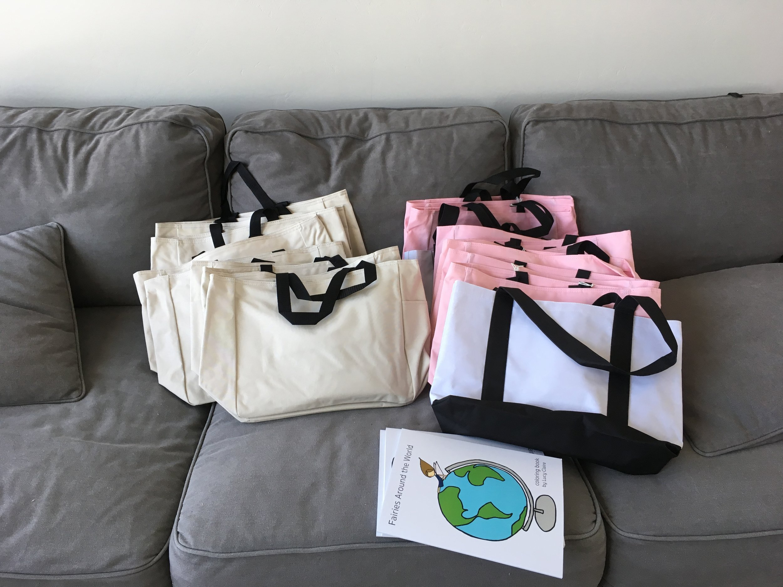 The tote bags and coloring books.