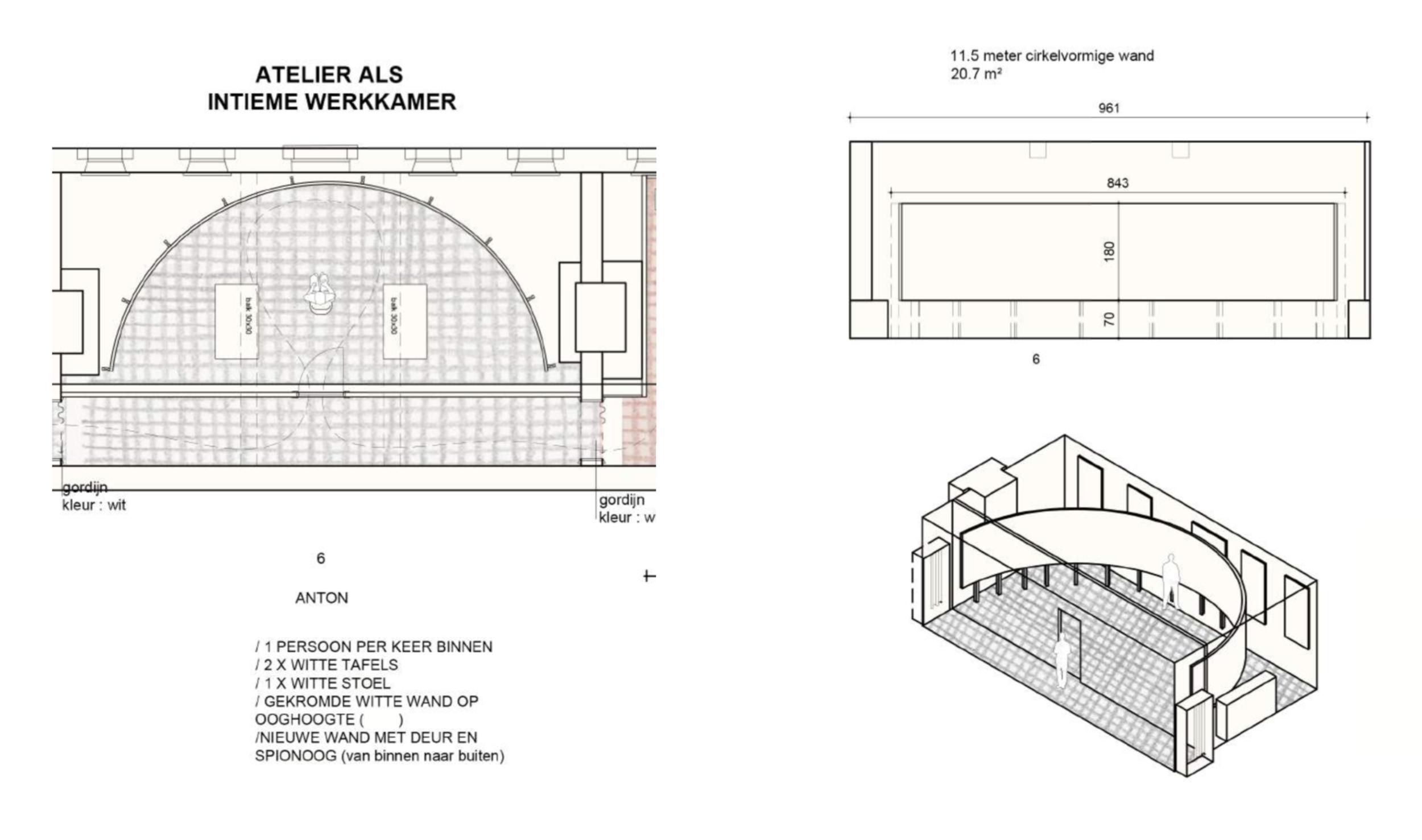 Concept van de atelier ruimte door Sofie Dederen, B-bis architecten & Anton Kusters