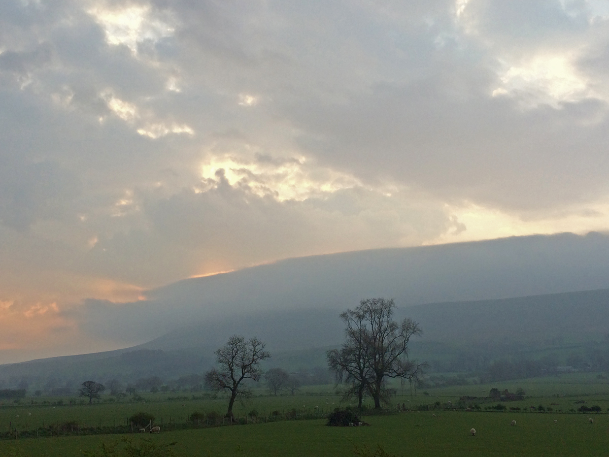 Pendle Hill at dawn from the A59 near Clitheroe