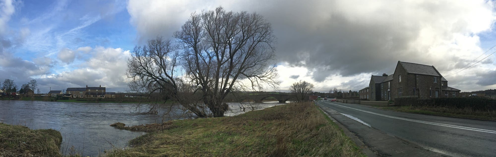 Ribchester Bridge - the properties in this photo were flooded on Boxing Day and the River Ribble remains high after never ending rain.
