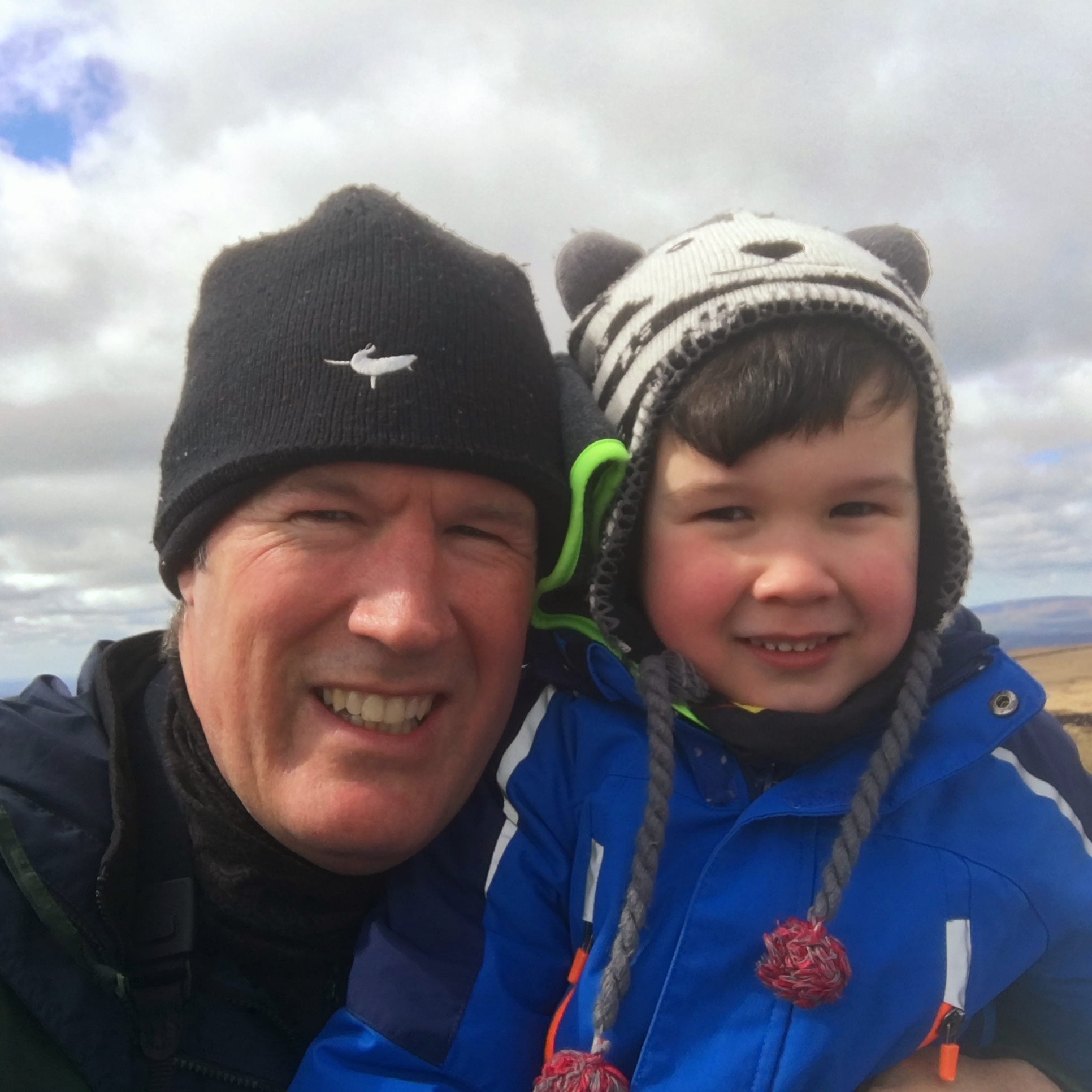 Alexander and his daddy on Pendle Hill, first time up!