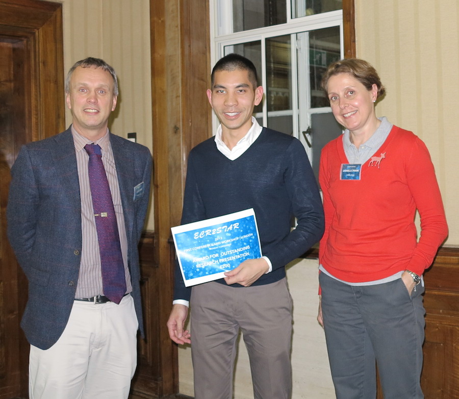 John Chan receiving award from Dr David Lewis (Chiesi UK Ltd) with PhD supervisor A/Prof Daniela Traini