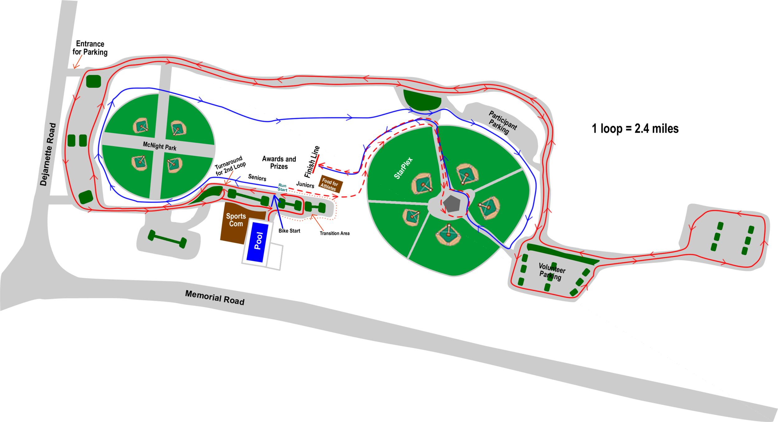 ike and Run map - including parking