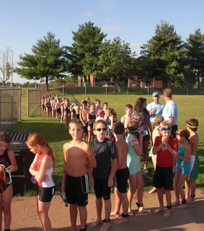 The start of the inaugural triathlon (August 22, 2009)