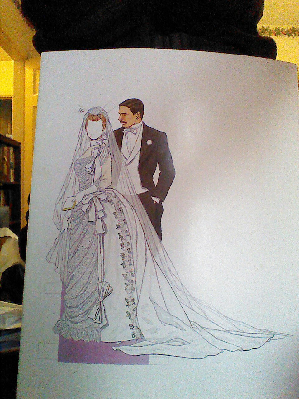 The bride is faceless for your projecting pleasure.