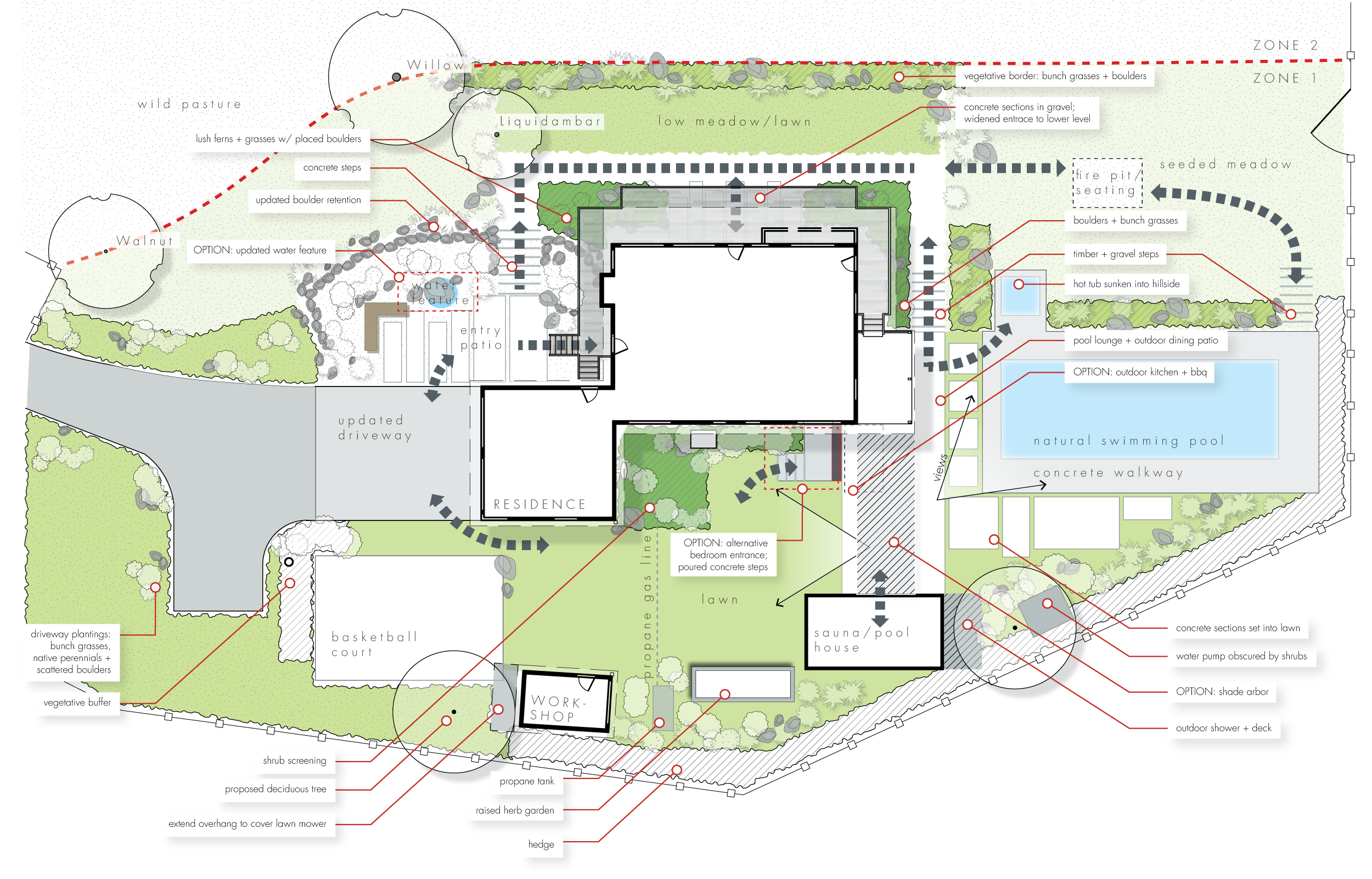 Schematic Design Example Layout Residential + Pool + Outdoor Living Spaces + Landscape Architecture Design Southern Oregon