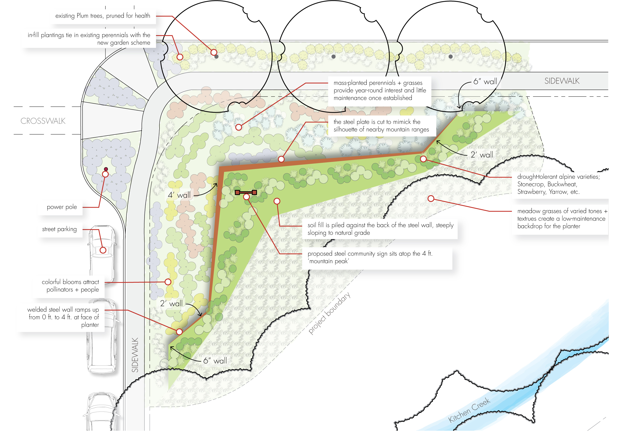 Schematic Design Example Layout Public Park + City Property + Residential Community + Sustainable Design Pollinator Meadow Landscape Architecture Design Southern Oregon