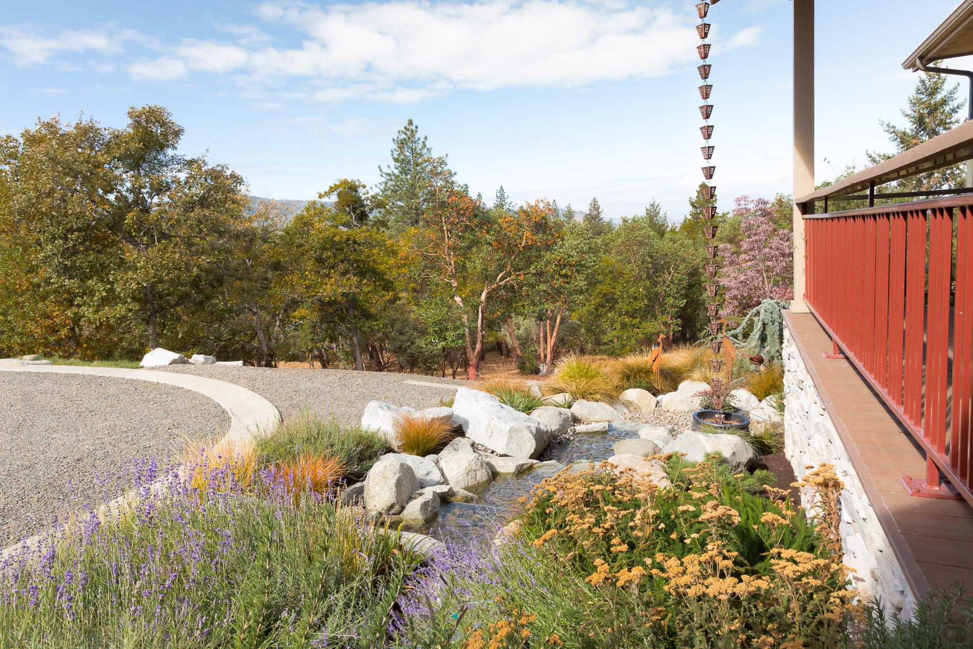 Granite Boulder Creek Water Feature + Perennial Entrance Garden