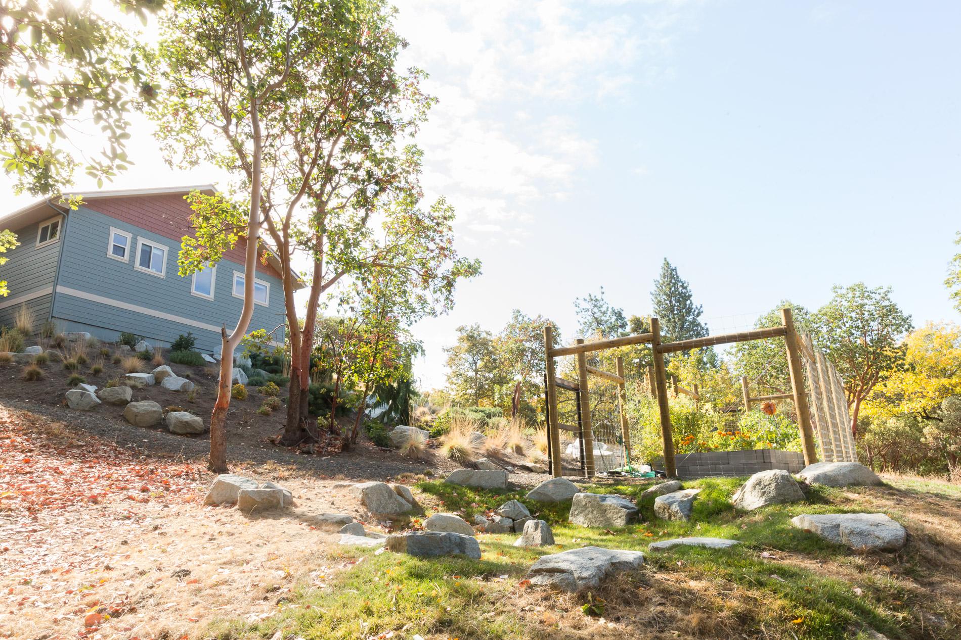 Deer-Proof Fenced Vegetable Garden + Native Hillside