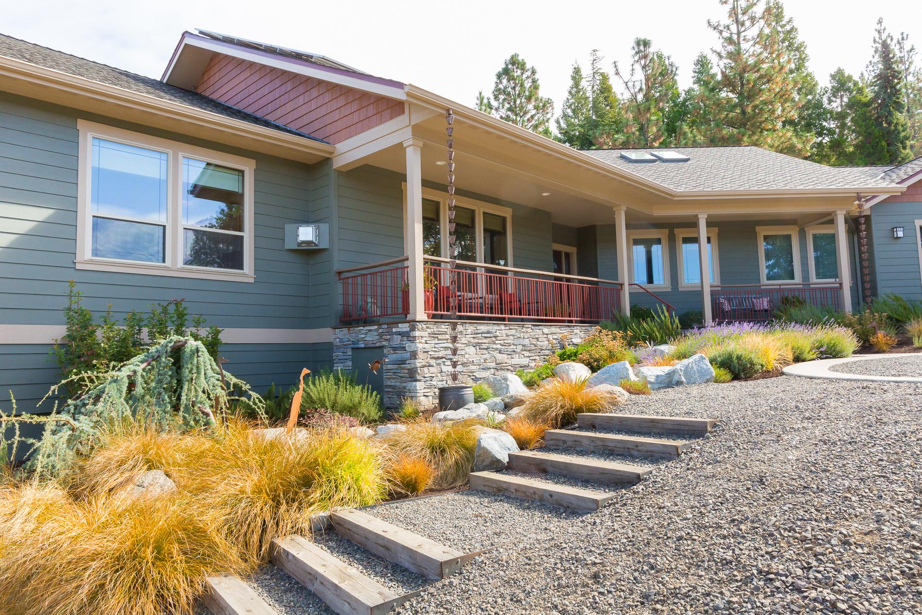 Hillside Perennial Plantings + Timber + Gravel Access Staircase