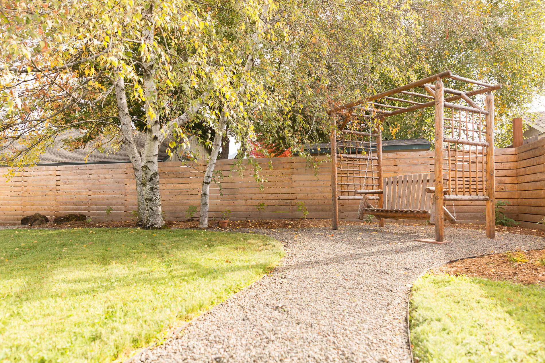 Backyard Swing + Eco-Lawn + Gravel Pathways