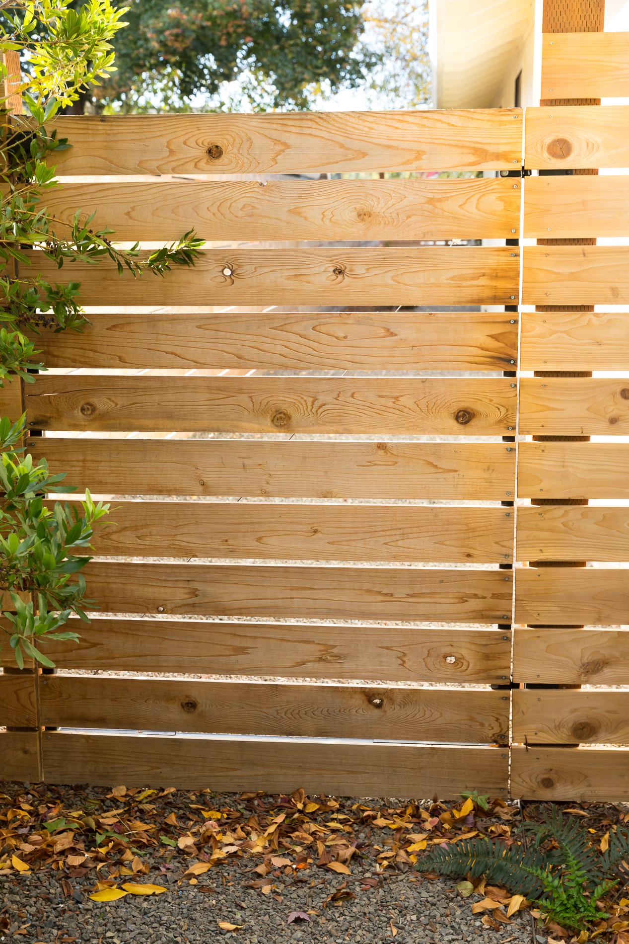 Horizontal Slat Cedar Privacy Gate