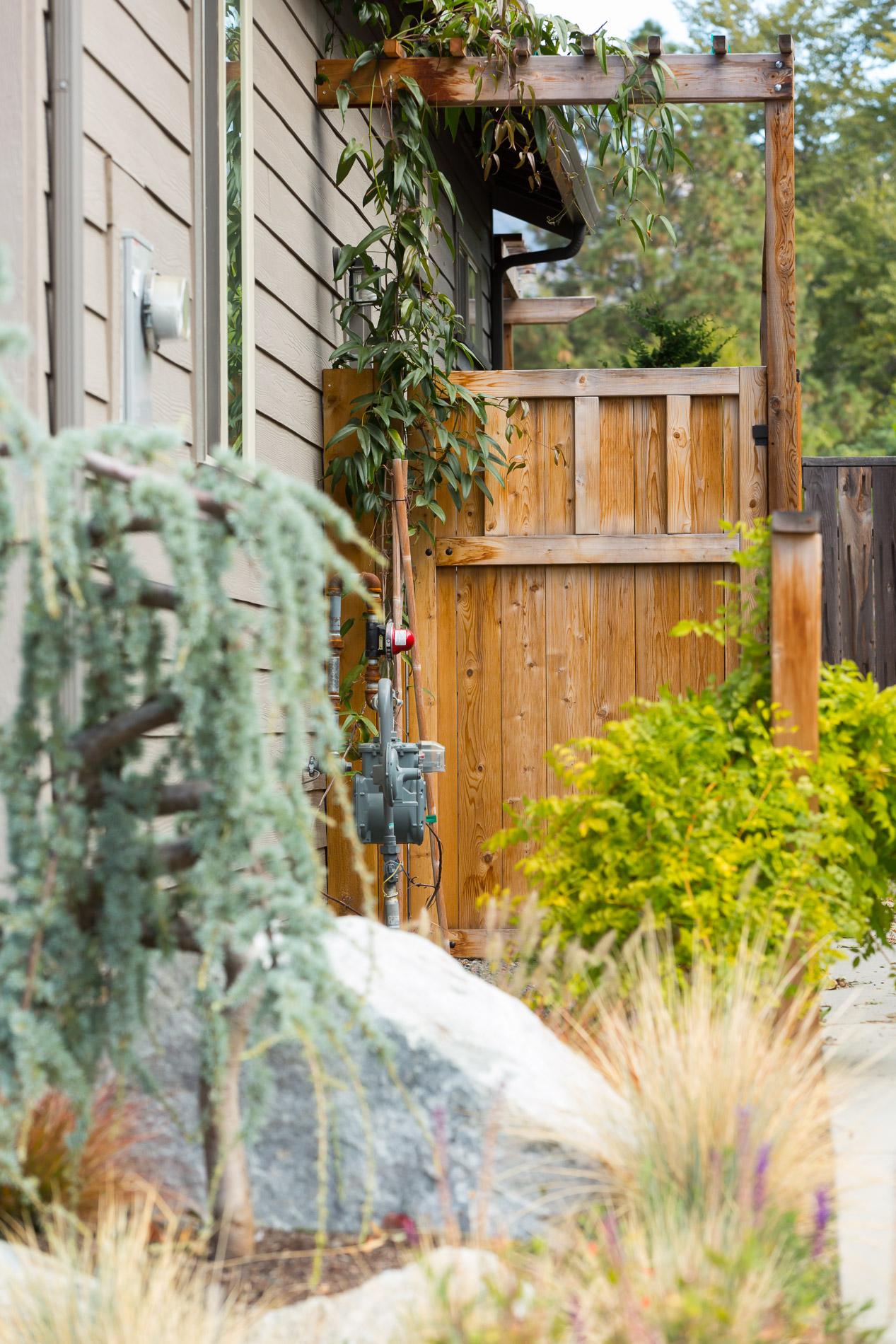Craftsman-style cedar gate arbor