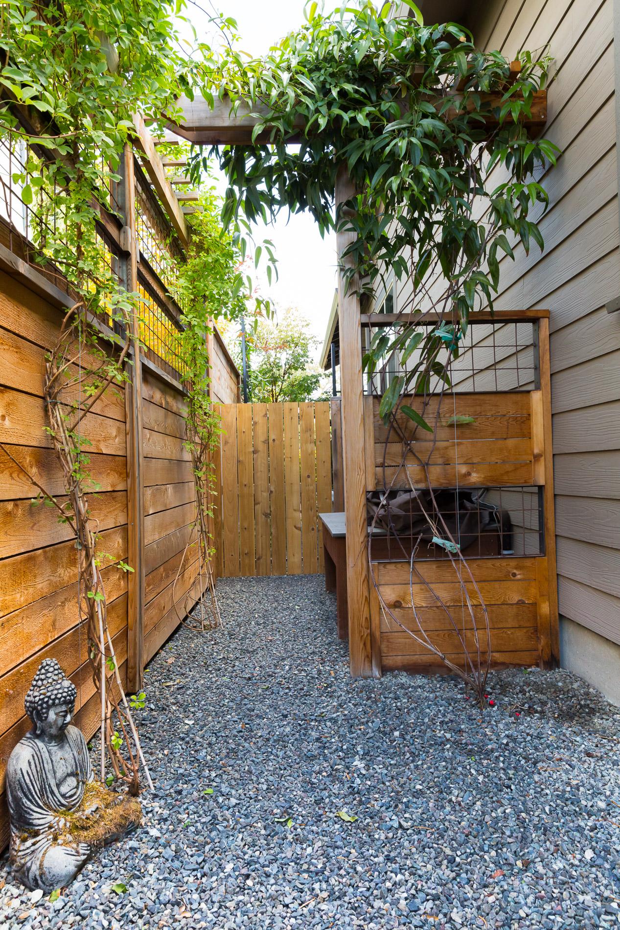 crafstman-style cedar trellis + fence extension + Vine arbor