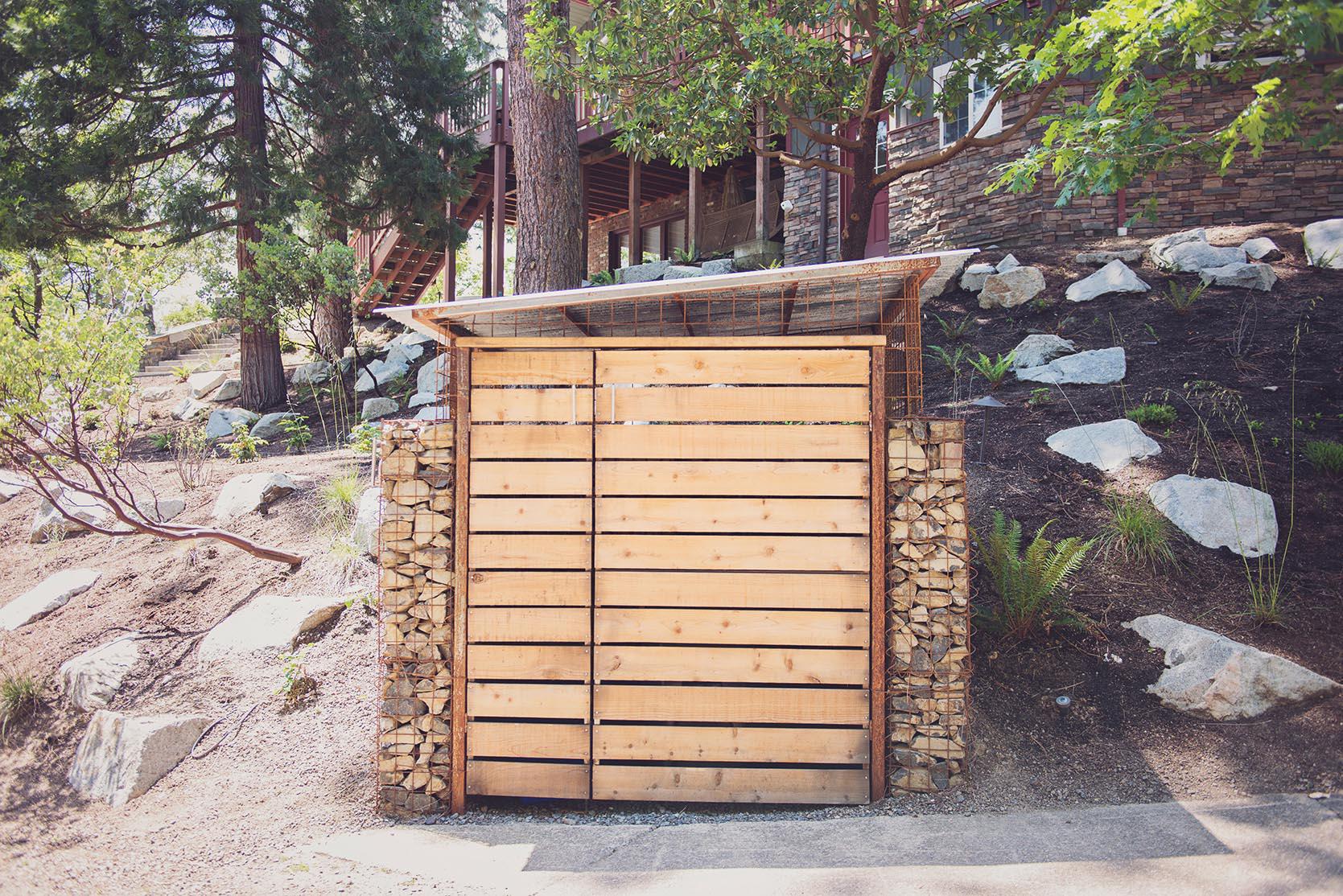 Cedar Slat Door + Steel + Gabion + Shed + Garbage + Recycling + Bear Proof + Granite Boulders.jpg