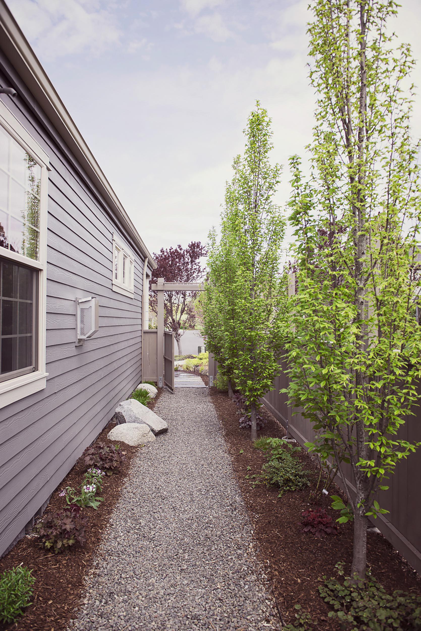 steel edged crushed basalt gravel skinny side yard walkway + placed granite boulders