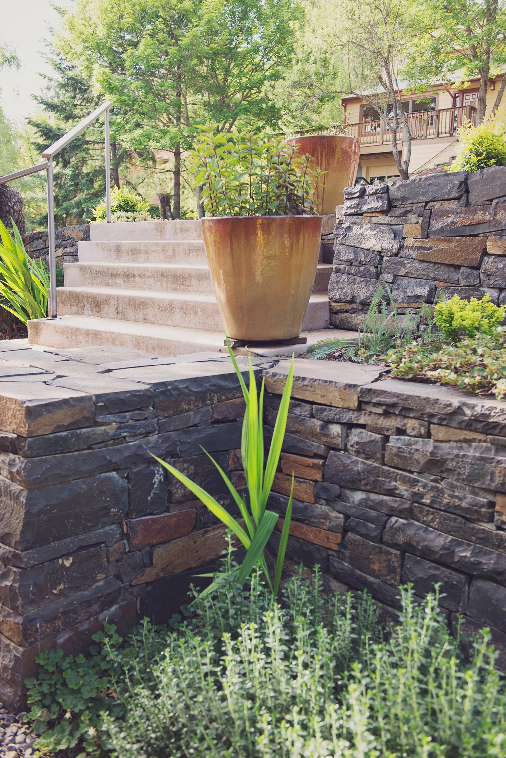 terraced stacked basalt retaining walls + modern perennial garden + modern formed econcrete descending entry stairway + steel railing