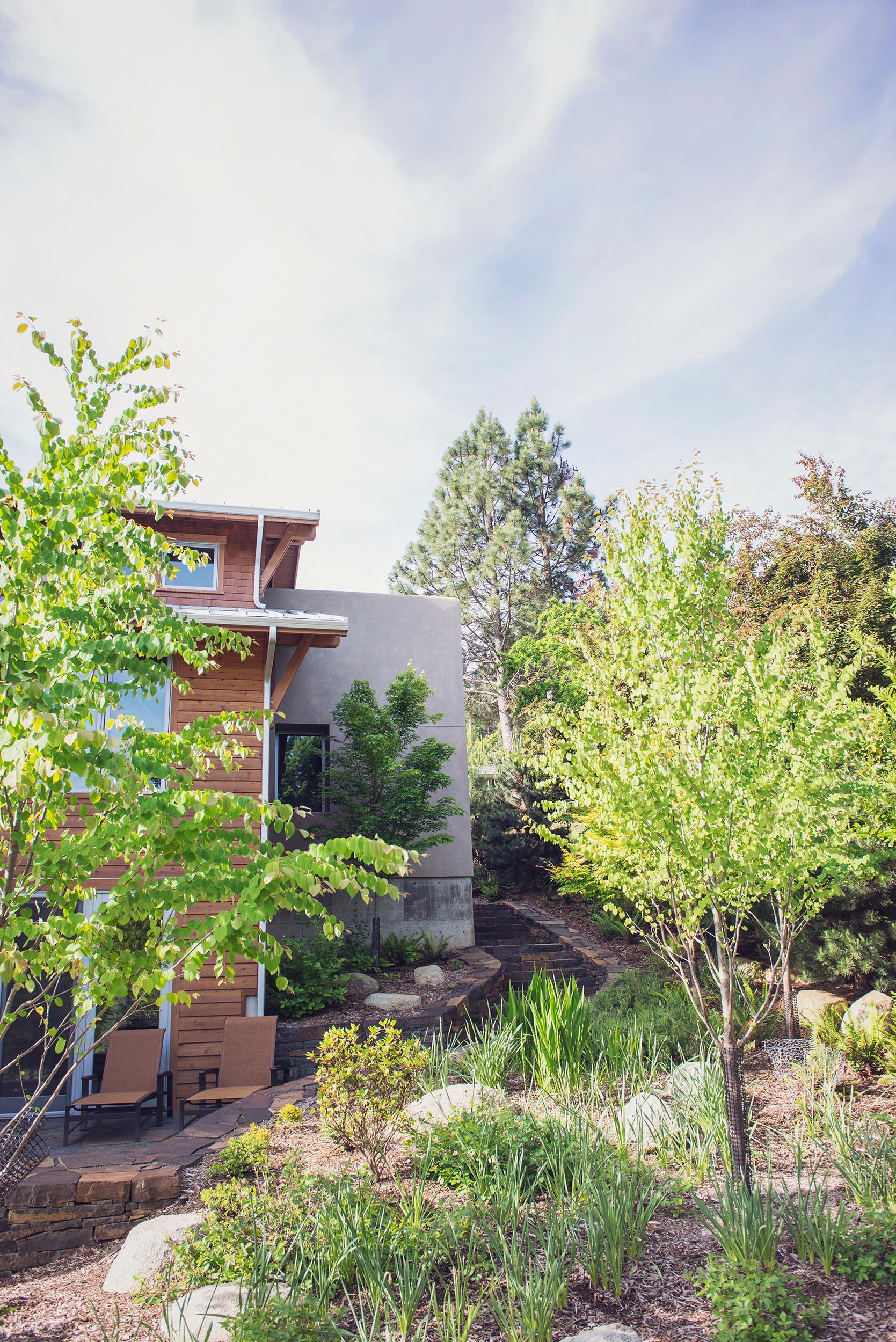 Drought tolerant + native perennial + tree garden + stacked basalt walls + granite boulders + modern landscape