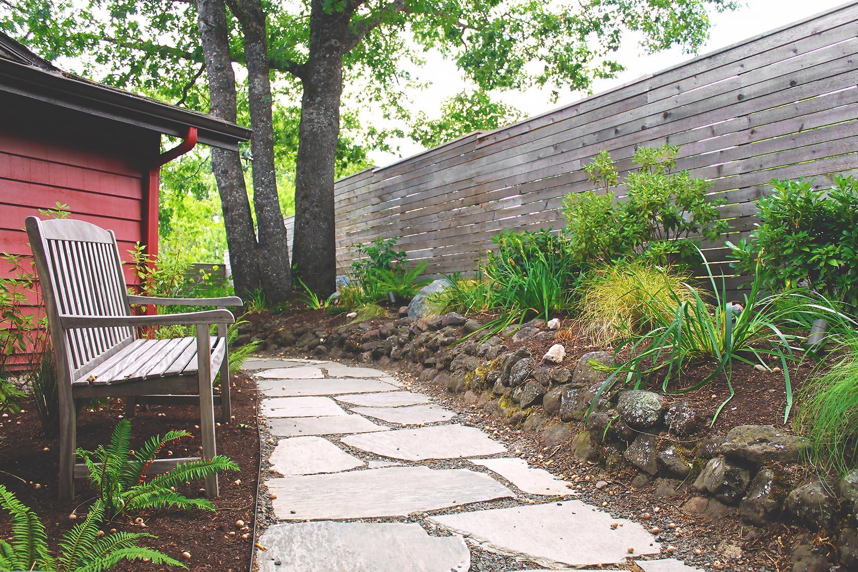 Flagstone Pathway + Garden Path + Wooland Garden + Perennial + Deer Resistant + Cobblestone