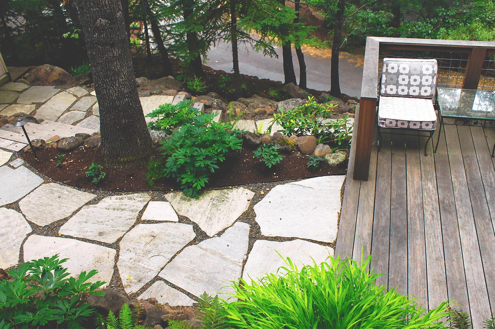 Loose Fit Flagstone Path + Timber + Gravel Steps + Deer-Resistant Perennial Garden + Cedar Studio Deck + Modern + Japanese Forest Grass + Fern