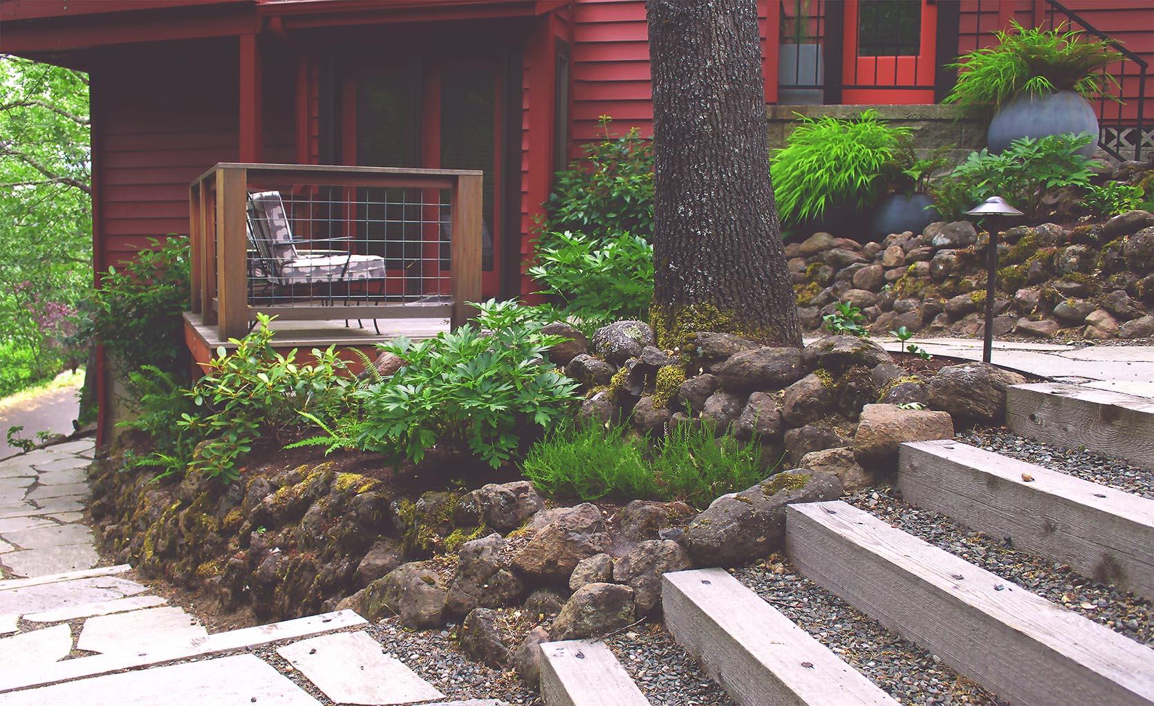 Loose Fit Flagstone Path + Timber + Gravel Steps + Deer-Resistant Perennial Garden + Cedar Studio Deck + Modern + Woodland Plantings