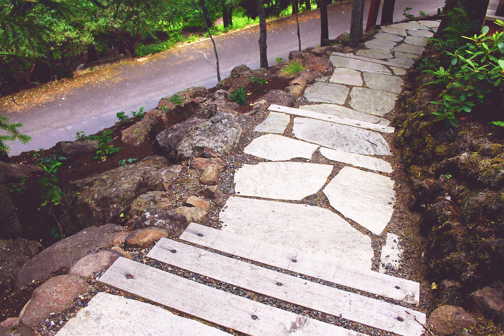 Loose Fit Flagstone Path + Timber + Gravel Steps + Deer-Resistant Perennial Garden