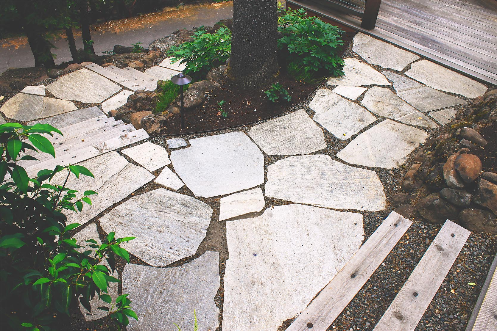 Loose Fit Flagstone Path + Timber + Gravel Steps + Deer-Resistant Perennial