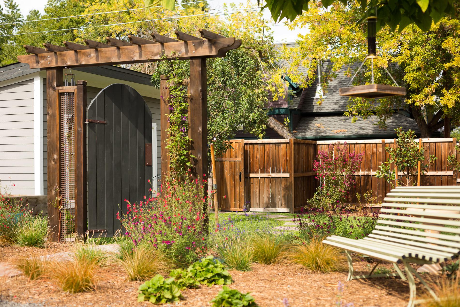 Cedar Gate Arbor + Drought-Tolerant Grasses + Perennials