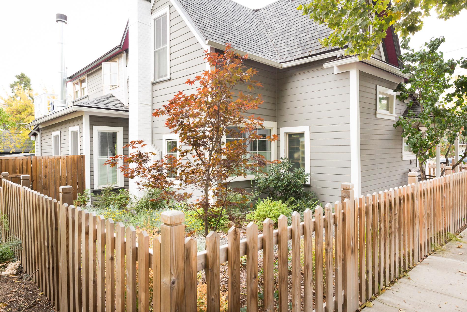 Traditional Cedar Picket Fence + Perennial Garden Side Yard