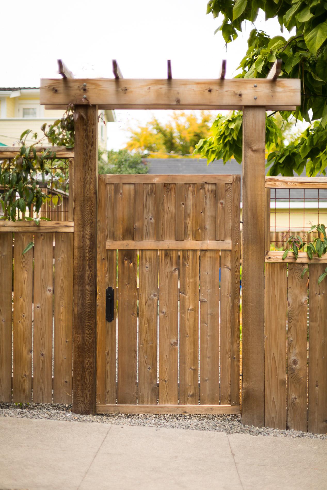 Urban Back Yard Cedar Entrance Gate + Arbor
