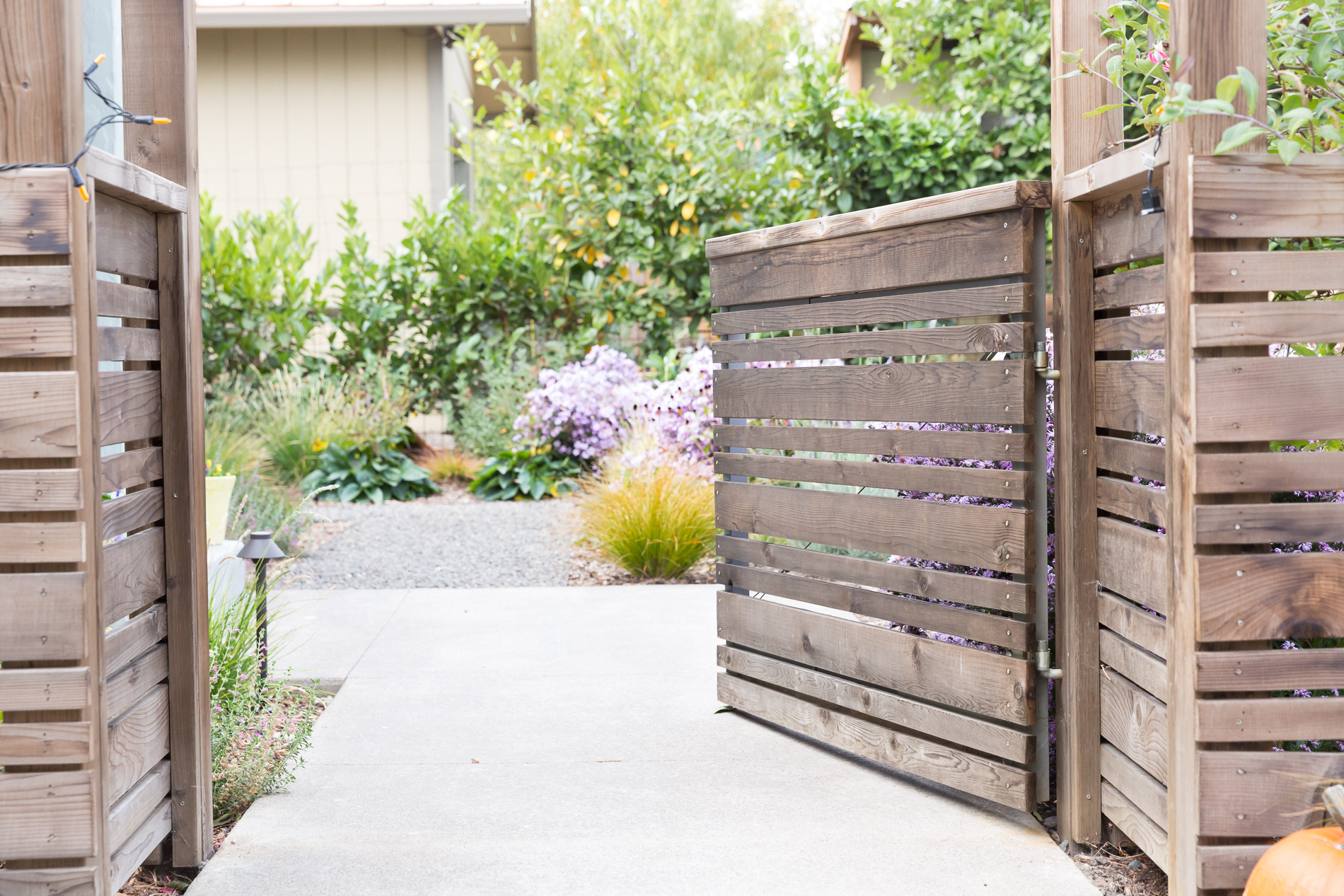 Concrete Entry Path + Horizontal Slat Cedar Gateway