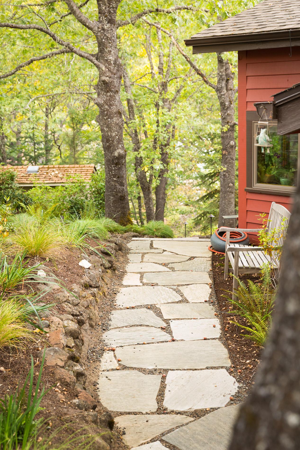Flagstone Path + Cobblestone Edge + Woodland Perennials