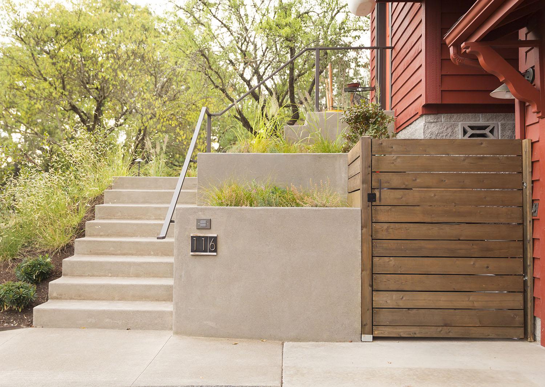 Terraced concrete planters + Cedar Garbage Enclosure