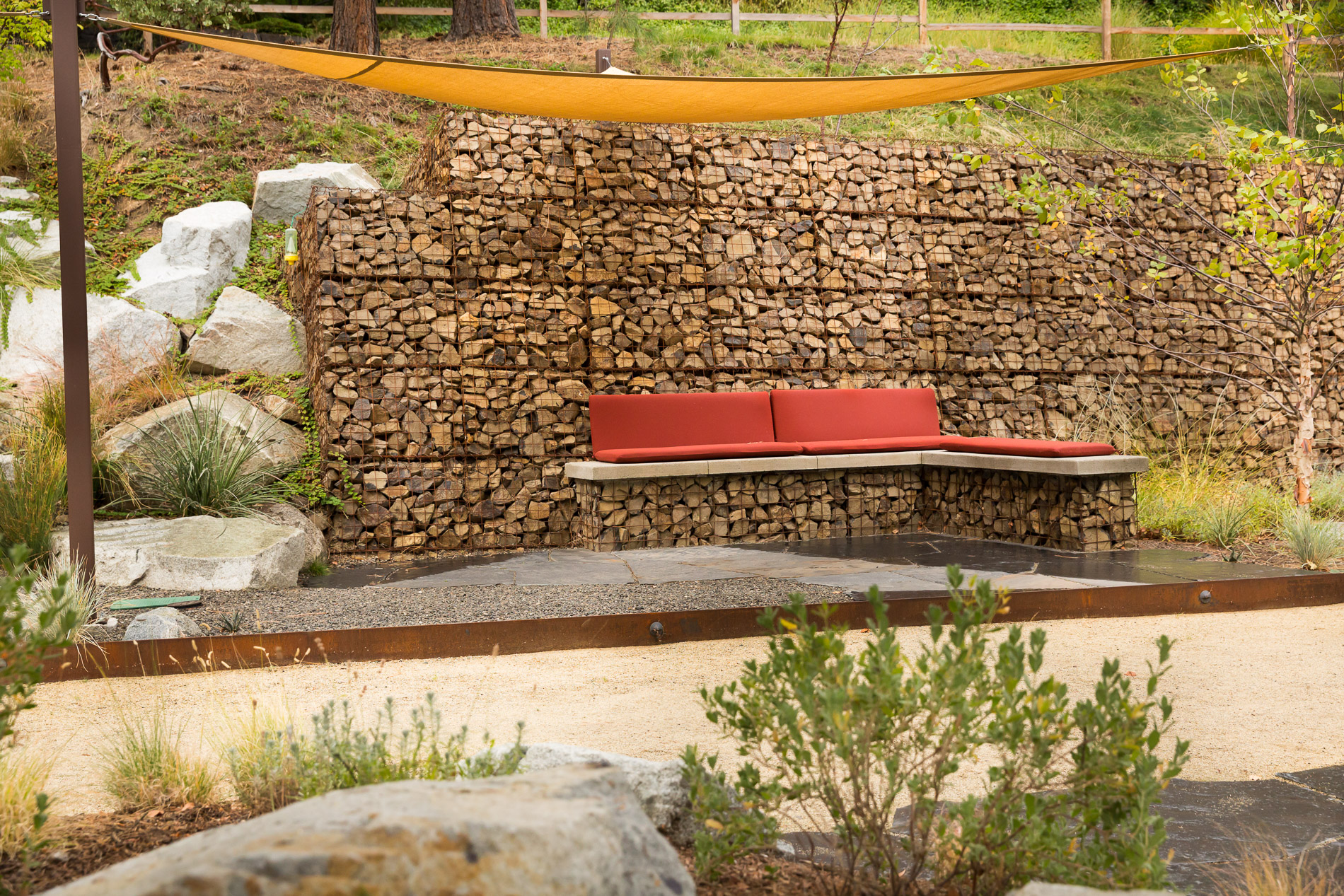 Bocce Court + Gabion Concrete Bench + Retaining Wall