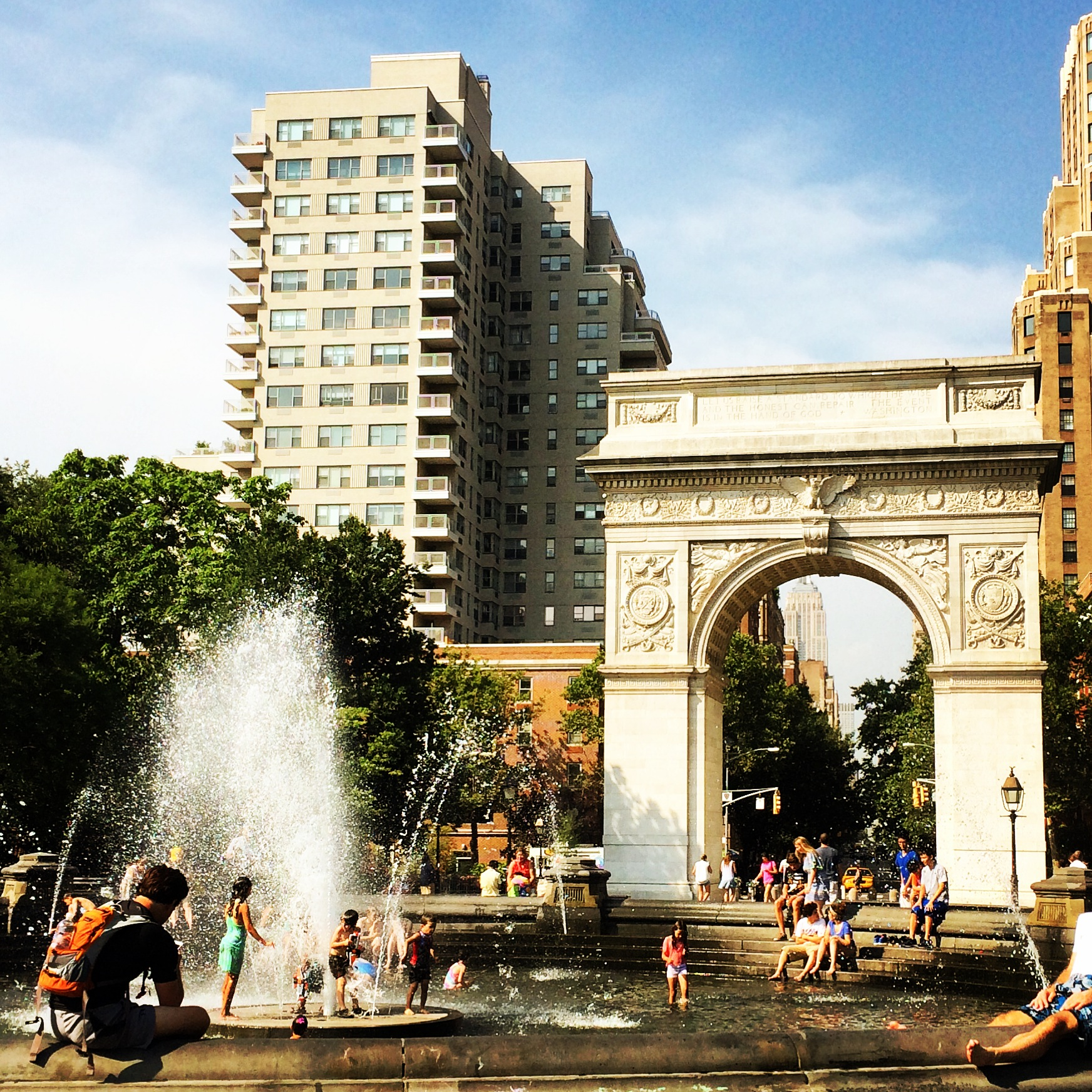 Washington Square Park on a hot Wednesday afternoon