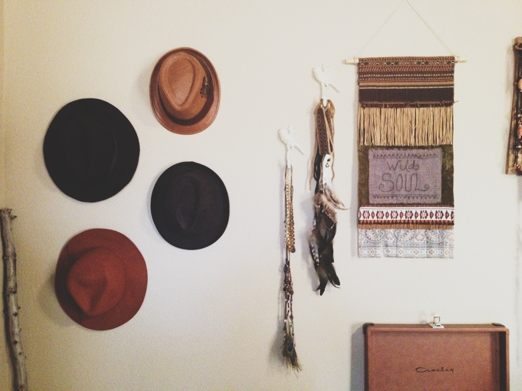 hat wall in the bedroom.JPG