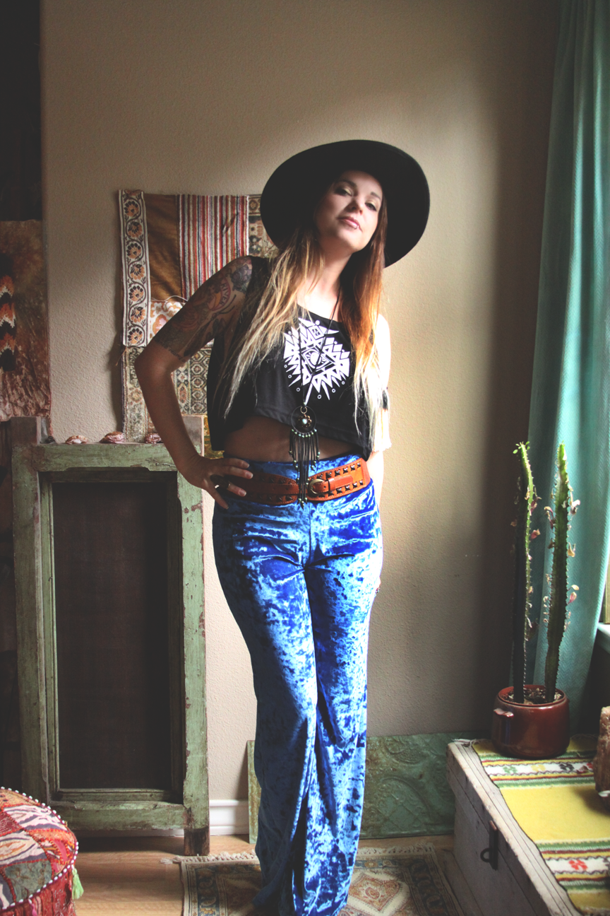 mamie ruth blue velvet bell bottoms outfit on roots and feathers.png